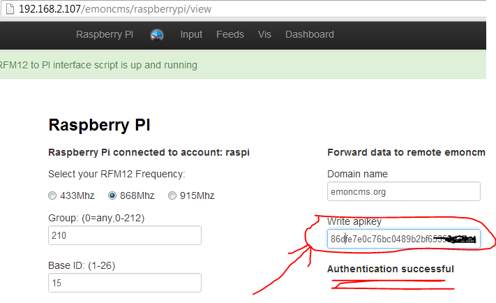 emonBase api key authentication emonBASE med Raspberry pi